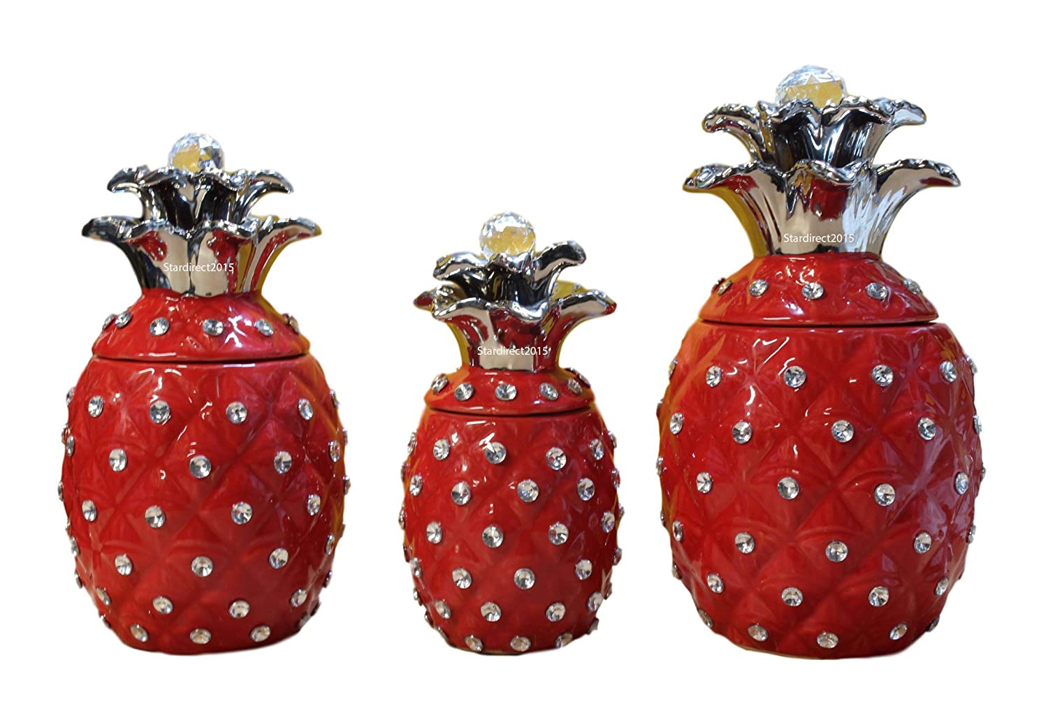 New pineapple tea coffee sugar canister jars ceramic set kitchen storage food white red gold red amazon co uk kitchen home
