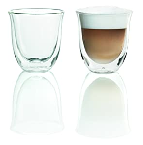 DeLonghi Double Walled Thermo Cappuccino Glasses, 6 fl oz, Set of 2 - 5513214601