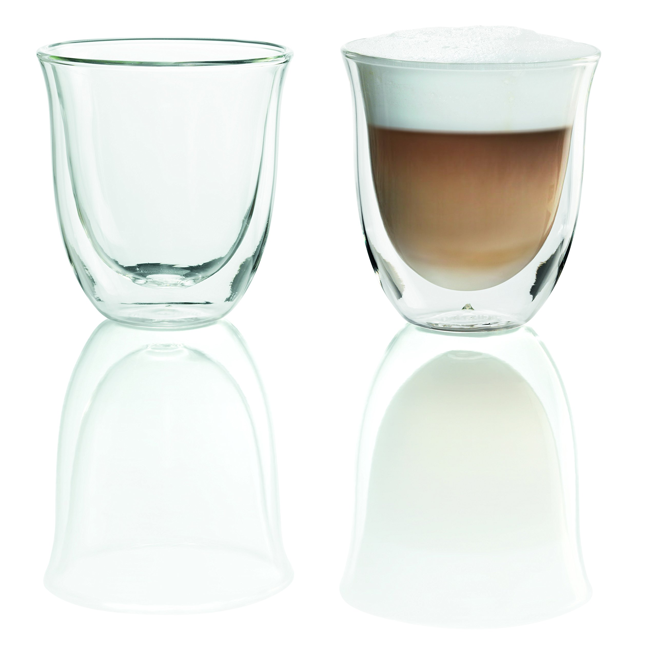 DeLonghi Double Walled Thermo Cappuccino Glasses, 6 fl oz, Set of 2