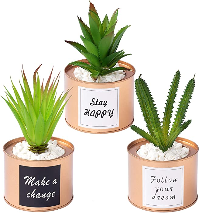 Desk Decor for Women Artificial Potted Plants,Set of 3 Fake Office Plants in Golden Metal Pots,Office Desk Decorative Plants for Living Room,College Dorm,Office, Bookcase, Table