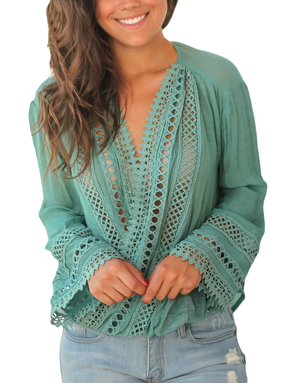 FARYSAYS Women's Casual Crochet V Neck Hollow Out Long Bell Sleeve T Shirt Tops Blouse Green XX-Large