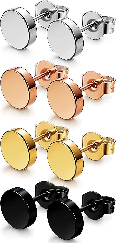 FIBO STEEL 4 Pairs Stainless Steel Stud Earrings for Men Women Ear Piercings Set,3-8MM Available