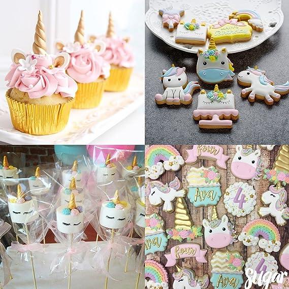 Amazon.com: Mini Unicorn Candy Mold, Food Grade Silicone Unicorn Mold Horn Ears Flower Cupcake Toppers Fondant Cake Cookies Jelly Chocolate Mold Set: ...