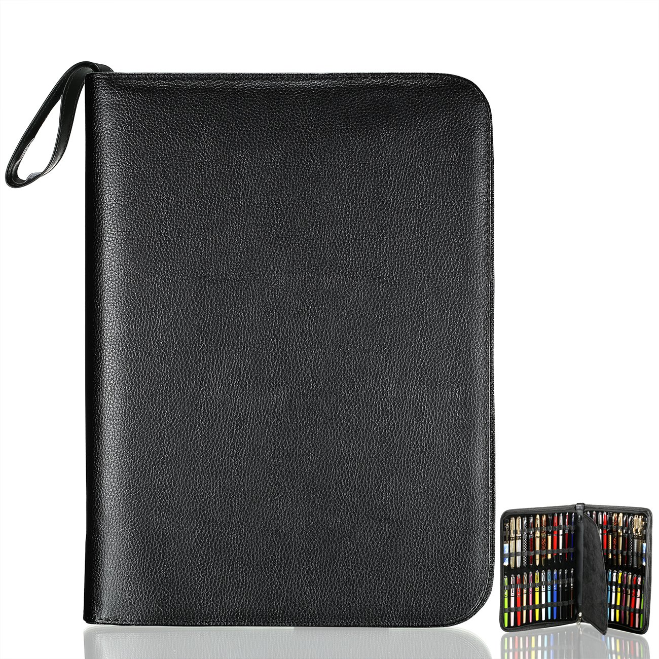 Fountain Roller Pen Case Holder Black PU Leather Bag for 48 Pens Collection by Aonepro