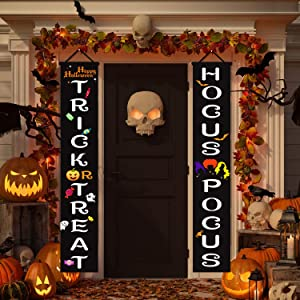 ukebobo Halloween Decorations Large Banner - Trick Or Treat Hocus Pocus Porch Signs, Witch Decorations for Home Front Door Outside Yard Garden Party – 1 Set