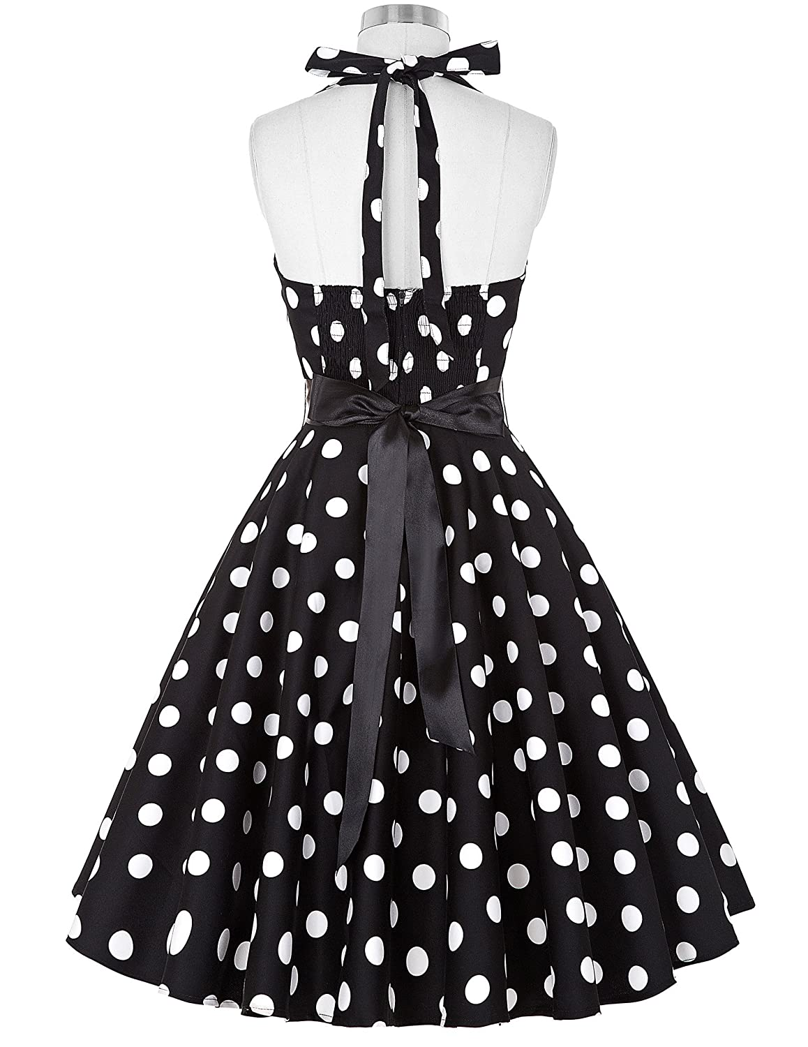 Halter Neck Dress Women Vintage Round Neck Sleeveless Polka Dots Dress M YF4599-1: Amazon.co.uk: Clothing