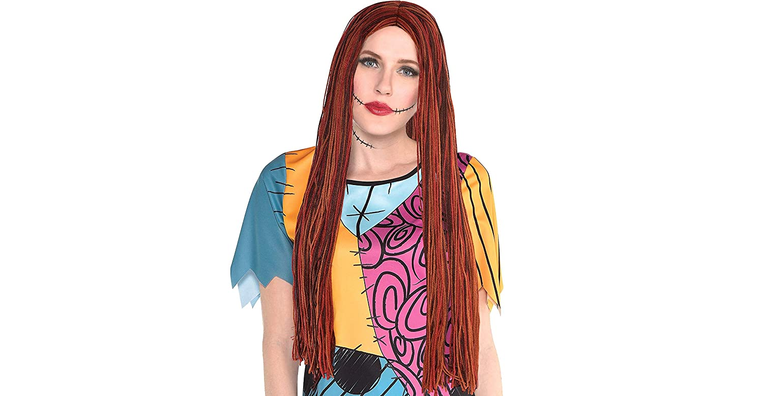 26bb0e2b481 Amazon.com: Party City The Nightmare Before Christmas Sally Halloween Wig  for Women, One Size: Clothing