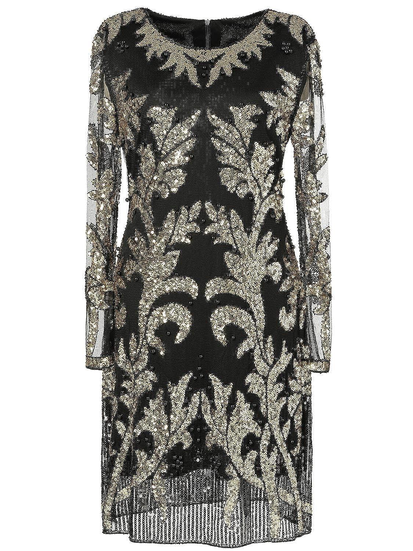 Bblack&gold Kilolone 1920s Vintage Deco Beaded Sequin Embellished Flapper Dress Evening Prom Wedding
