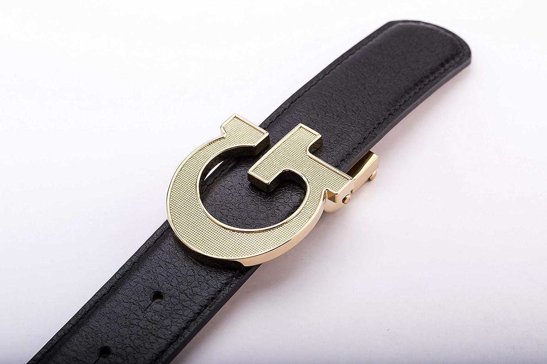 Yuangu Mens Minimalist Style High-grade Cowhide Big G//M Buckle Belt