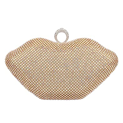 e01fd3e8bec Fawziya Lips Evening Bags And Clutches Crystal Ring Clutch Purses For Women-AB  Gold