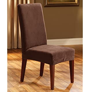 Good Sure Fit Stretch Pique   Shorty Dining Room Chair Slipcover   Chocolate  (SF36847)