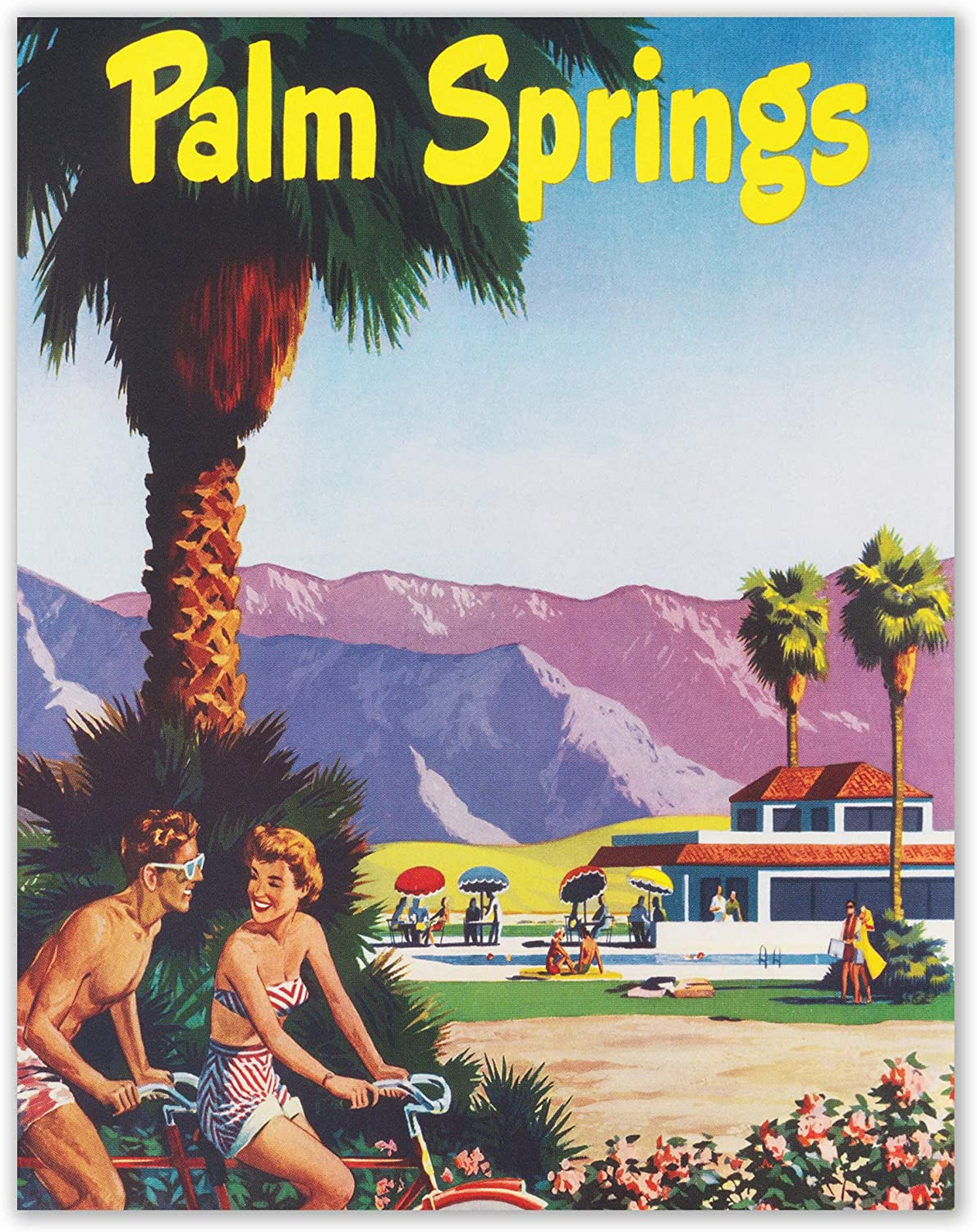 Insire Vintage California Poster Prints - Set of 1 Unframed (11x14 inches) Retro Palm Springs Wall Art Decor - United States Prints For Home, Room, Bedroom, Office, Decorations