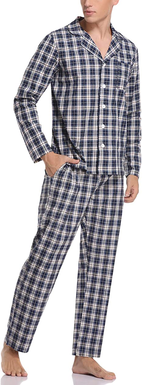 Aibrou Pijama Hombre Invierno de Algodón 2 Piezas Pijamas ...