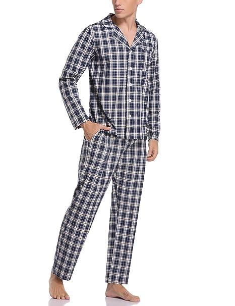 Hawiton Pijamas Hombre Invierno de Manga Larga Pijama Algod/ón Ropa de Domir 2 Piezas Pantalones Largo