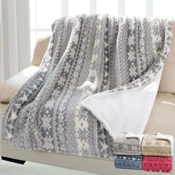 Christmas Throw Blanket.Christmas Throw Sherpa Blanket 50 X 60 Snowflake Pattern Super Soft Fluffy Sherpa Throw Tv Blanket Decorative Blanket For Bed Couch Holidays Grey