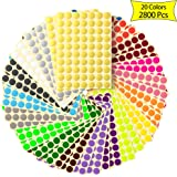Hioya 2800pcs Dot Stickers, 20 Colors Circle Stickers, 19mm Sticky Dots, Removable Print Or Write Colored Dot Stickers, Round Stickers Dots, Color Coding Labels(2800pcs, 20 Colors, 19mm)