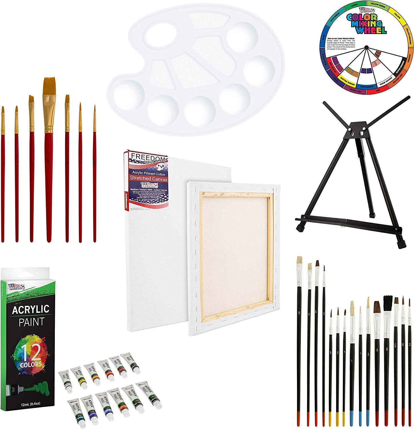 U.S Aluminum Table Easel Paint Brushes /& Plastic Palette Stretched Canvas 12 Acrylic Colors Art Supply 39-Piece Acrylic Artist Painting Set
