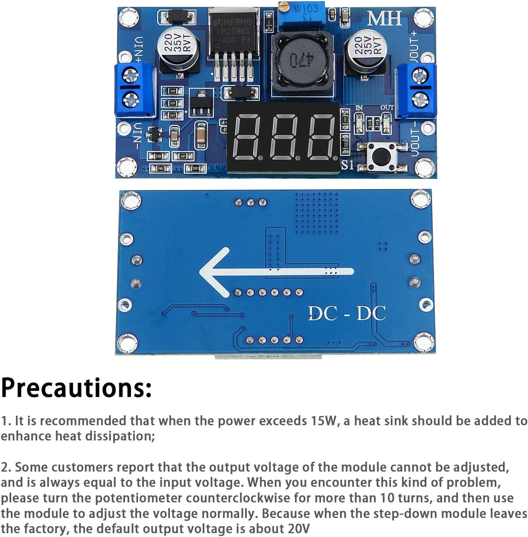 Weewooday 2 Pieces Adjustable LM2596S DC-DC Buck Converter Reduced Voltage Regulator Power Supply Module 36V 24V 12V to 5V 2A Voltage Stabilizer with Digital Voltmeter Display