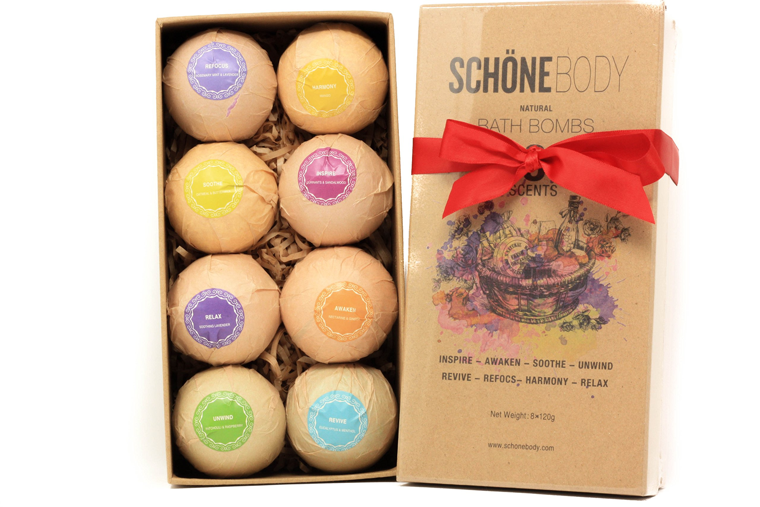 Schöne Bath Bombs Essential Oils, Natural Bath Bombs Set Of 8