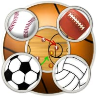 6 Sports Clipboards & Scoreboard (basketball, football, baseball, soccer, volleyball, ice hockey) for Kindle, Tablet, Phone