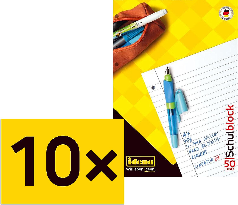 10x Herlitz Schulblock kariert DIN A4 Lineatur 26 Schreibblock