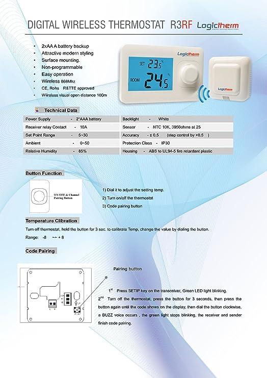 Logictherm R3RF - Termostato radiofrecuencia para habitación, kit de termostato para habitación: Amazon.es: Bricolaje y herramientas