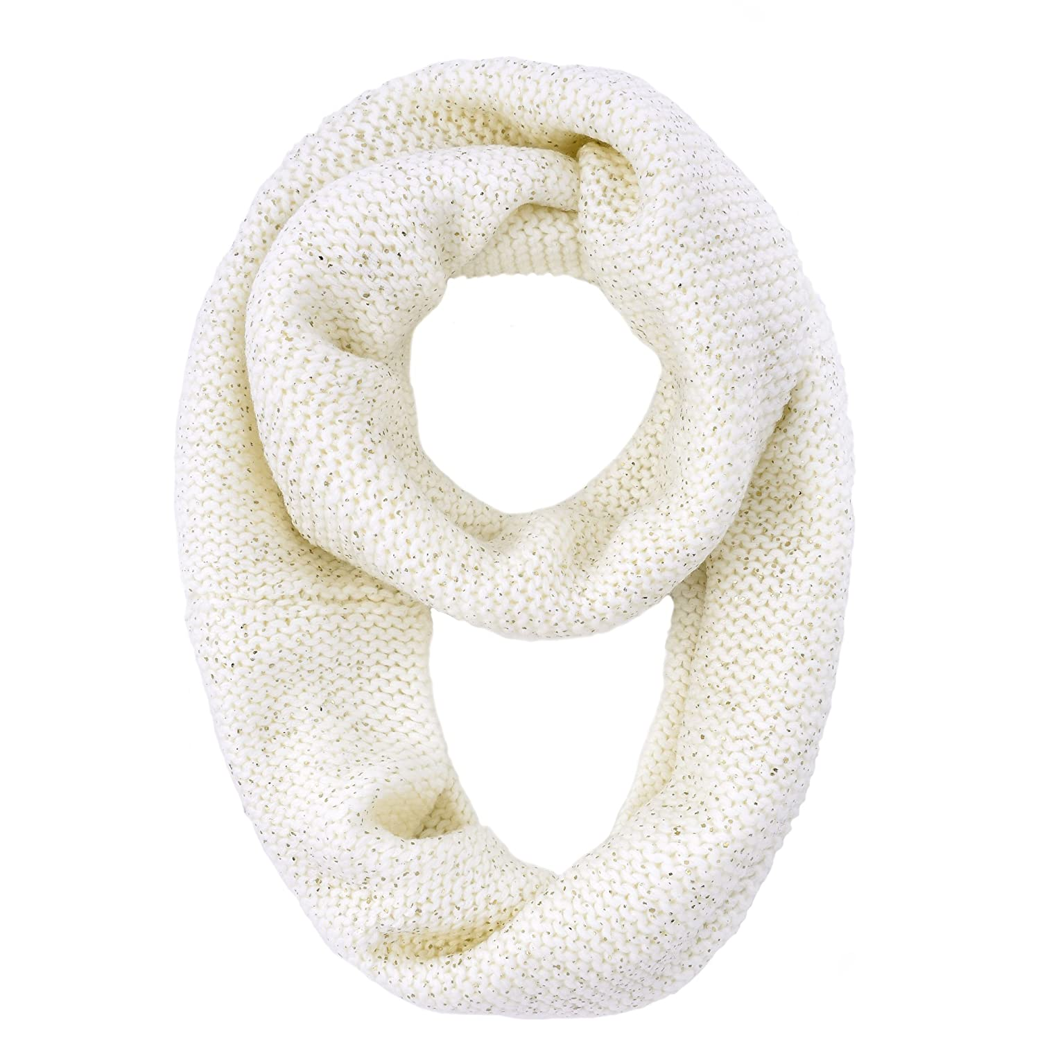 RiscaWin Women Thick Winter Infinity Circle Loop Scarf Glitter Metallic Knitted (White)