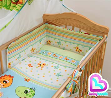 luxury 6 piece baby cot bedding reg bumper set 120x60 dino green
