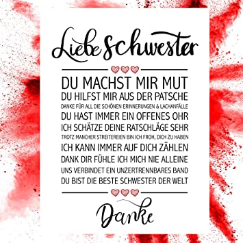 Close Up Beste Schwester Danke Zitate Poster Deko Geschenk Zum Geburtstag Weihnachten Jeden Tag 30 X 40 Cm Premium Qualität