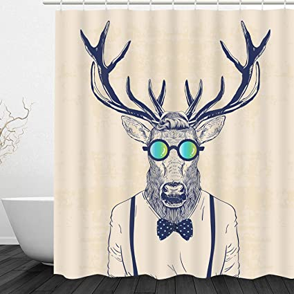 Sunmner Bathroom Shower Curtain Fun Dressed Deer Curtains With 12 Hooks Antlers