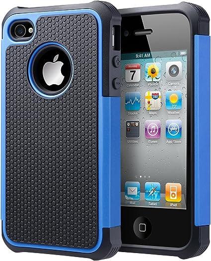 Funda Para Iphone 4 Iphone 4s Caso Uarmor Hybrid Dual Capa Funda Protectora Con Silicona Y Suave De Plástico Duro Para Iphone 4s Y Iphone 4 Negro Azul