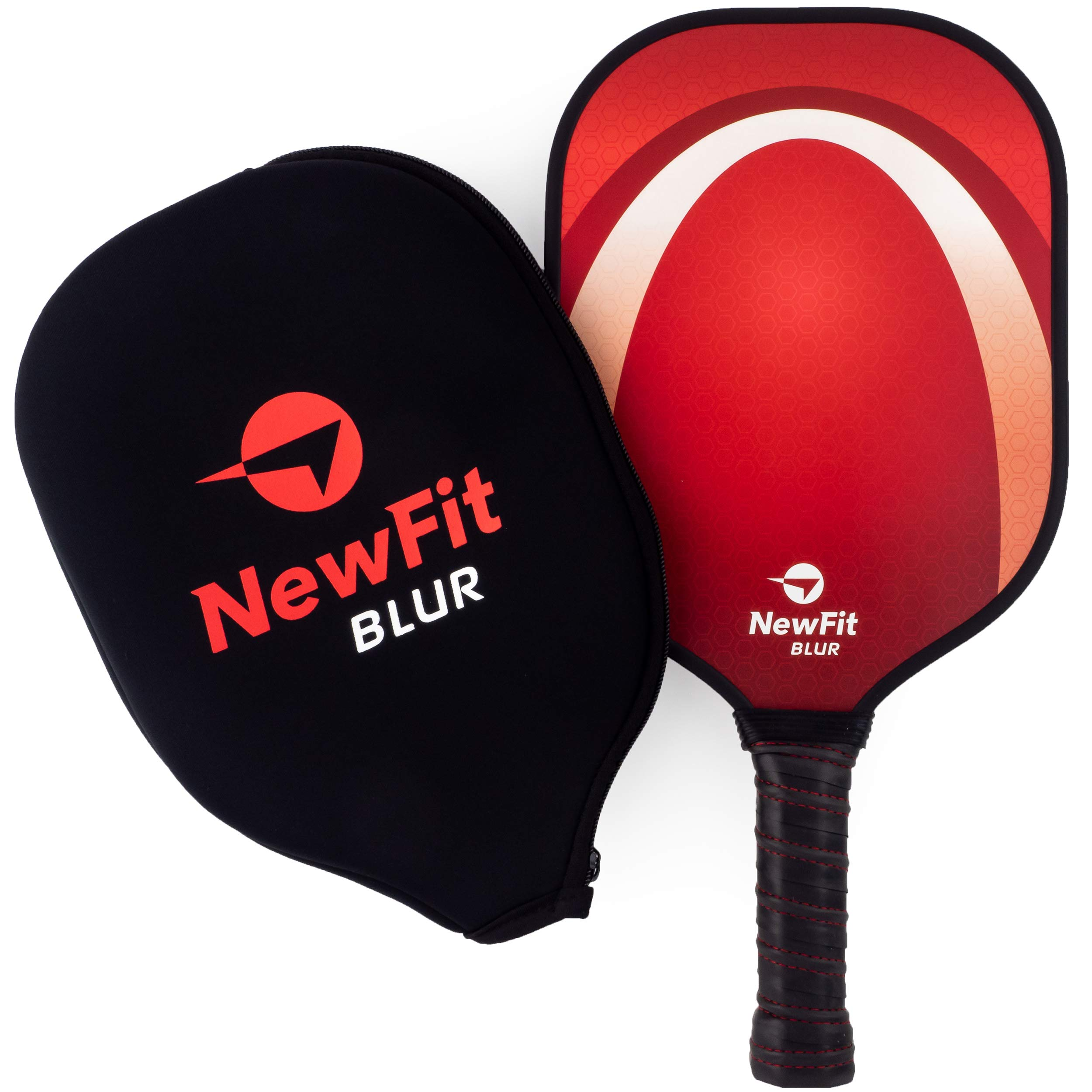 NewFit Blur Pickleball Paddle - USAPA Approved - Graphite Face & Polymer Core for a Quiet and Light Racket (Red Single) by NewFit Sports