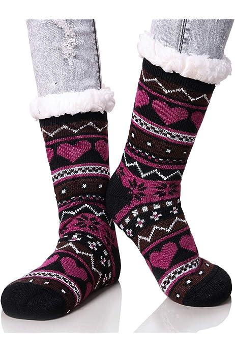 Women's Winter Snowflake Fleece Lining Knit Thick Warm Christmas Slipper Socks
