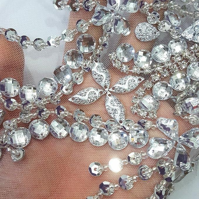 Amazon.com  Amazingly 22x34cm Sparkle Silver Crystals Rhinestones Sew on Applique  Wedding Beaded Patches DIY for Bridal Women s Wedding Dress Decoration 9afa8778de33