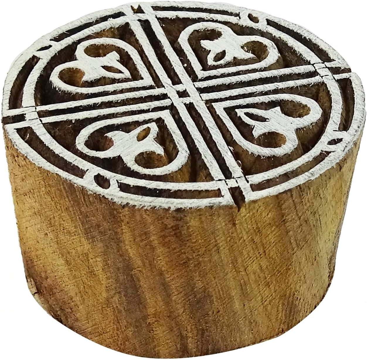 Knitwit Indian Holz Stempel Herz Stempel Braun Textildruck Block Dekorative Bl/öcke