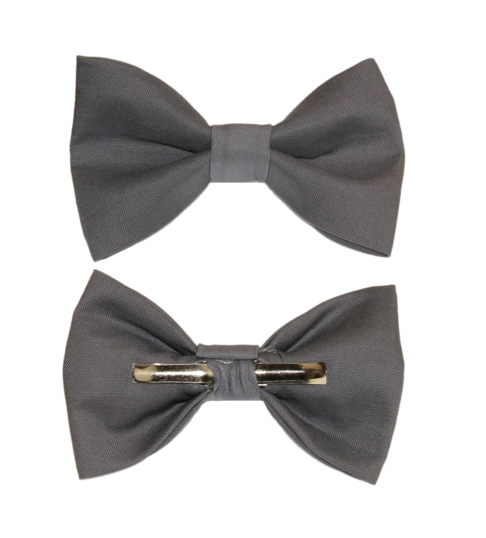 Boys Steel Gray Dark Gray Clip On Cotton Bow Tie Bowtie amy2004marie