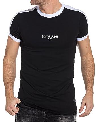 494fd6a3dd2 Sixth June - T-Shirt Noir Homme Bandes Blanches  Amazon.fr  Vêtements et  accessoires