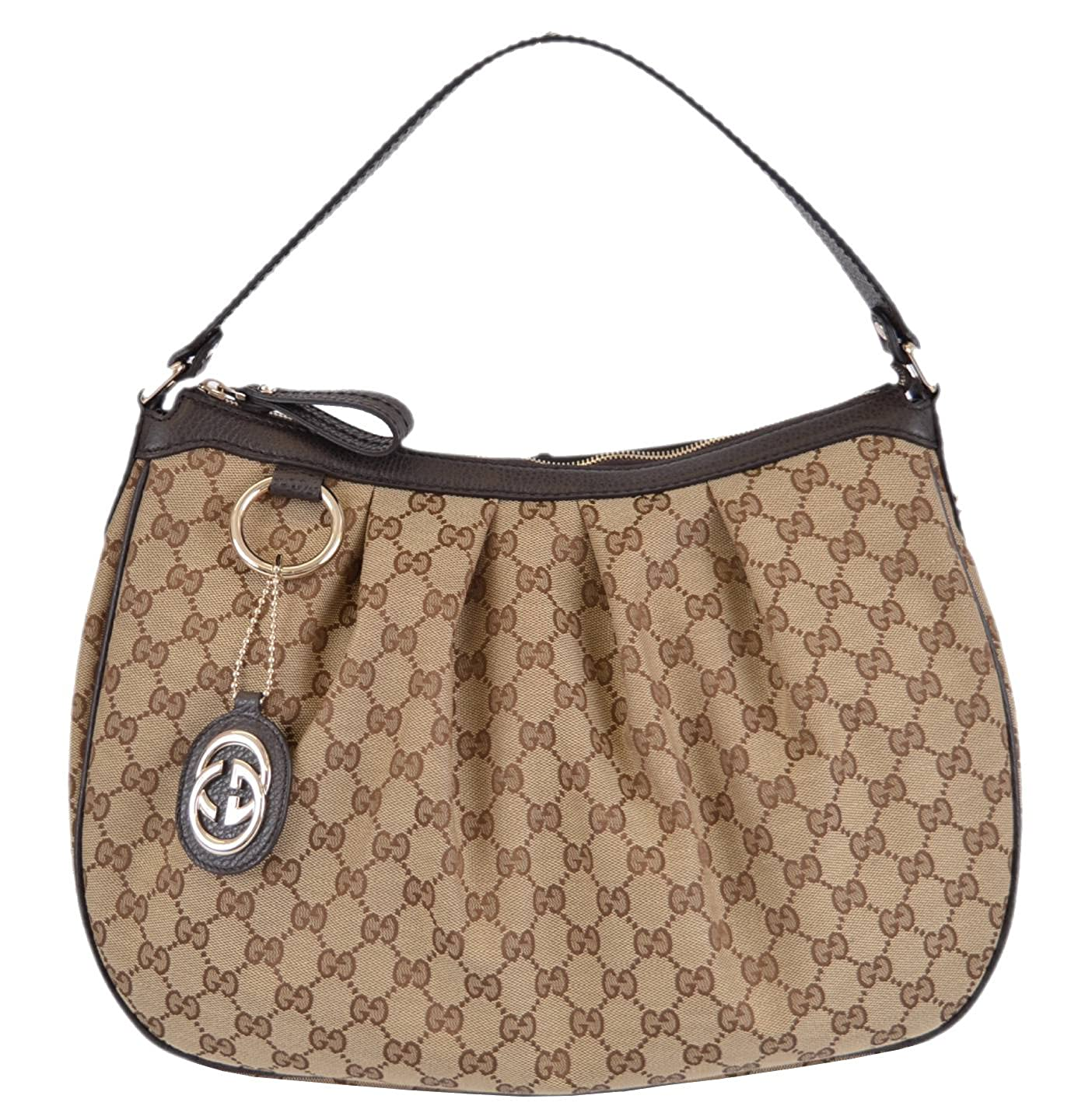 c1df0126090 Amazon.com  Gucci 364843 Women s Brown Canvas GG Charm Guccissima Sukey  Purse  Shoes
