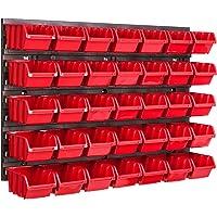 Opbergsysteem wandrek 576 x 390 mm, 35 stuks box, stapelboxen opbergkast, extra sterke wandplaten, uitbreidbaar…