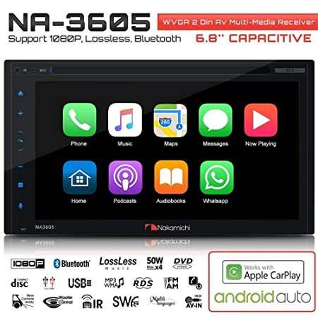 NAKAMICHI NA3605 Double-Din In-Dash 6.8 WVGA Display Apple Car Play Andriod Auto Multimedia CD DVD USB MP3 Bluetooth Spotify Pandora Car Stereo Receiver