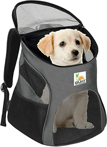 Guay Pet Carrier Backpack for Dogs and Cats- Soft Sided Ventilated Mesh with Bed Liner – Safe Hiking Walking Travel Bag for Small Pets Kitten Puppy Up to 12 lbs