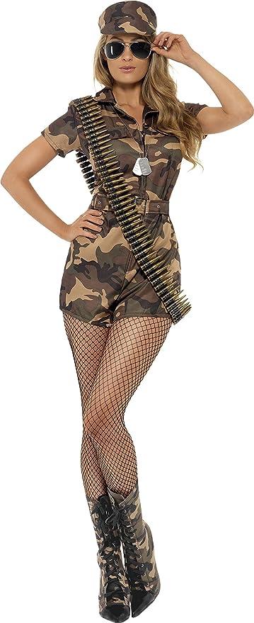 Smiffys Disfraz de mujer soldado sexy, camuflaje, con mono de pantalones cortos, cinturó, Color, S - EU Tamaño 36-38 (28864S)