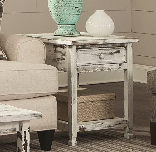 Rustic Cottage End Table with 1 Drawer and 1 Shelf, White Antique