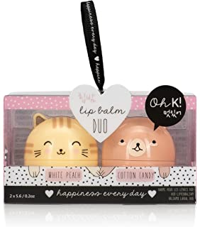 Oh K! Korean Cat and Bear Lip Balms, 2 Piece, White Peach/