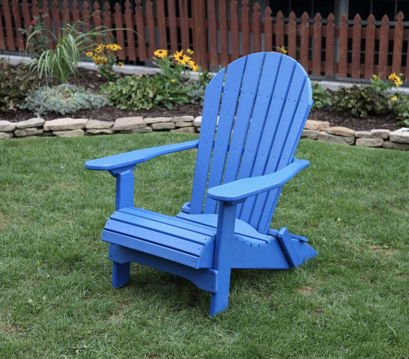 Blue-Poly Lumber Folding Adirondack Chair with Rolled Seating Heavy Duty Everlasting Lifetime PolyTuf HDPE – Made in USA – Amish Crafted