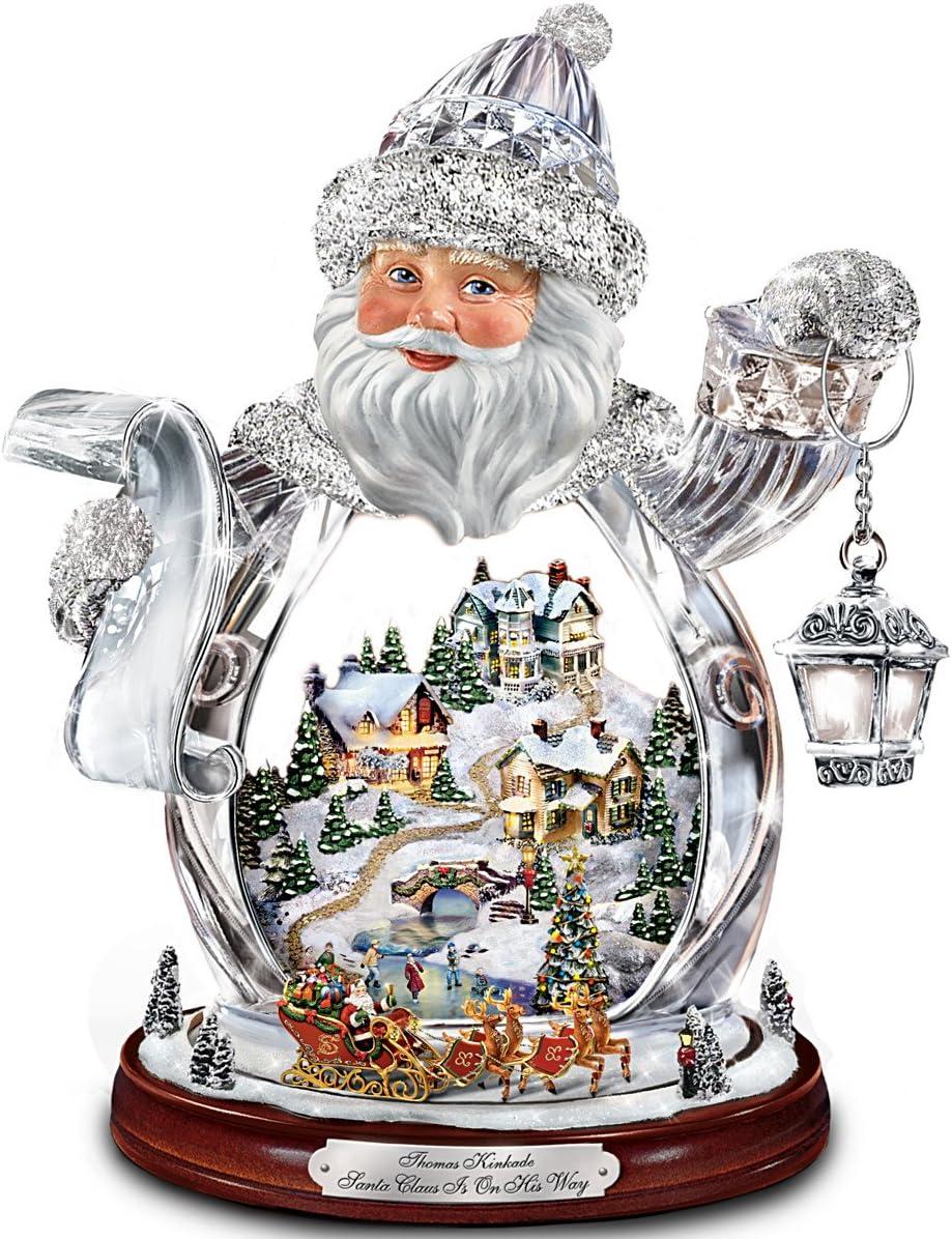 The Bradford Exchange Thomas Kinkade Santa Claus Tabletop Crystal Figurine: Santa Claus is On His Way