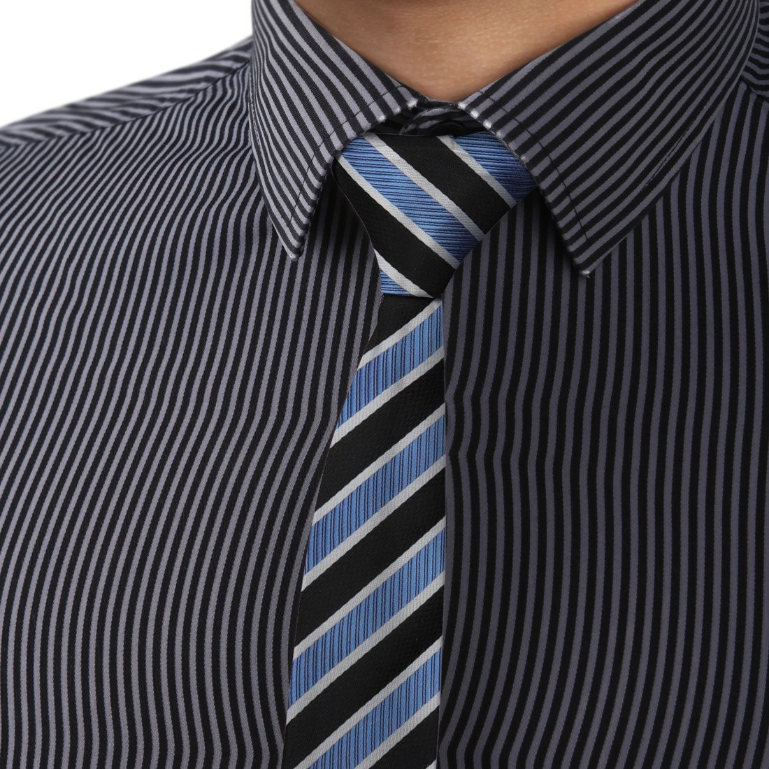 Dan Smith Dae7a06e Black Cornflower Blue Stripes Microfiber Skinny