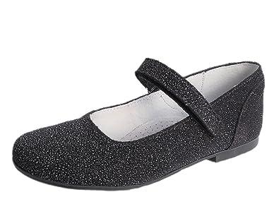 8ea1c2743248 Mädchen-Kinder-Ballerinas Ennellemoo® Echt Leder-Glitzer-Schuhe -Spangenballerina-