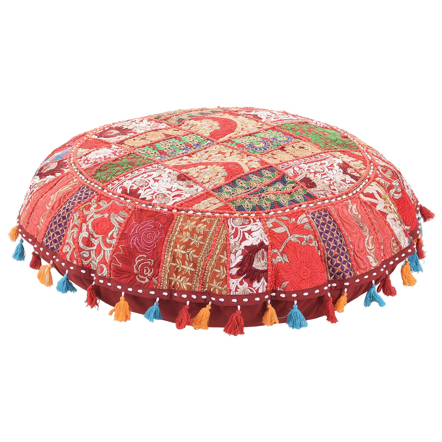 Marudhara Fashion Beautiful Decorative Ruond Ottoman Indian Patchwork Pouffe,Indian Traditional Home Decorative Handmade Cotton Ottoman Patchwork Foot Stool, Embroidered Chair Cover Vintage Pouf 32''