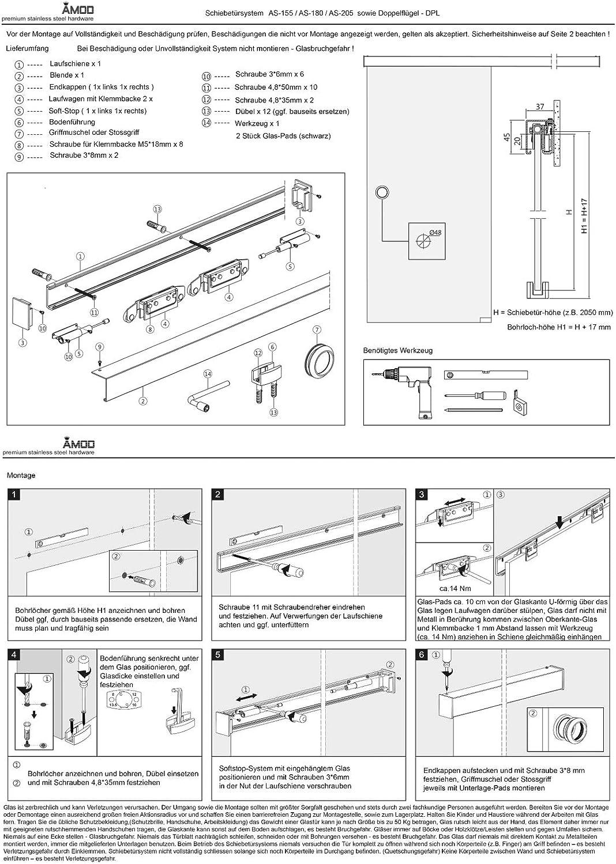 Schiebet/ürsystem ESG 1025x2175x8mm Dekor S vollsatiniert; Schienensystem ALU SlimLine SoftStop; Knauf Muschel BS-1025D-2-KNAUF-AS
